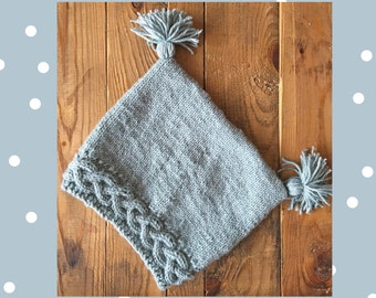 Hand-knit cable brim hat