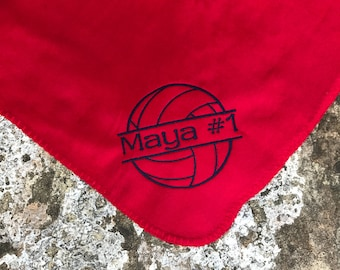 Volleyball blanket- Personalized Volleyball Fleece Blanket -  Personalized Name - Custom Embroidered - Many team Colors available