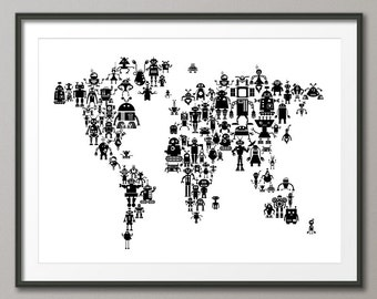 Animal map of the world map for children and kids art print robots map of the world map for children and kids art print 1559 gumiabroncs Image collections