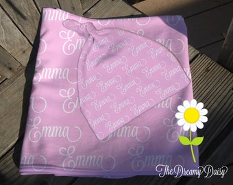 Personalized Baby Blanket & Hat Set - Monogrammed Receiving Blanket and Newborn Beanie Hat for Girls - Custom Name Swaddling Blanket and Hat