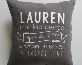 Birth Stats Pillow - Custom Name Pillow - Personalized Baby Pillow
