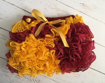 Ready to Ship Crochet Ruffle Skirt Size 1-2 year in maroon and gold