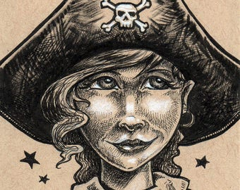 Girl Pirate Original Ink Drawing by Bryan Collins