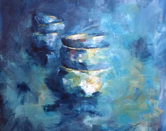 """Beautiful painting in blues. """"Bowlblues"""" created in acrylic on panelcanvas."""