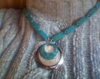 Celadon blue celadon and white double Medallion necklace Pearl