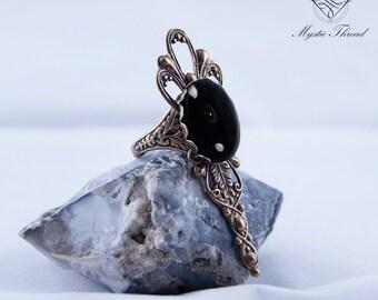 Black agate gem gothic victorian adjustable ring