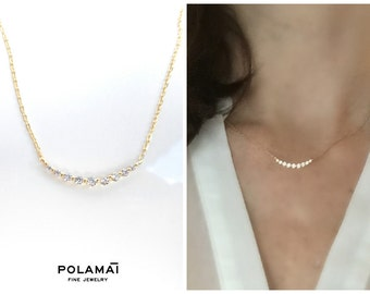 Diamond Necklace . 9 Diamond Curved Necklace 18k Yellow Rose or White Gold . Layering Necklace . Diamond Curve Necklace . Minimal Jewelry