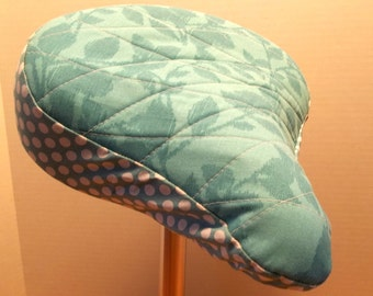 Cotton Quilted Beach Cruiser Size  Bike, Bicycle  Seat Cover Turquoise or Teal with Rim of white Polka Dots
