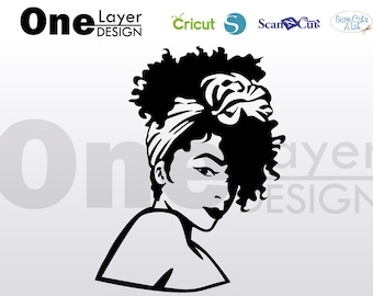 afro girl with bandana beautifull,  SVG - Png - Pdf - Eps File, T-Shirt SVG, svg -Vector Art - Cricut,Silhouette,Cameo,Iron on Vinyl