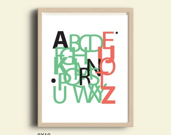 Alphabet art, Instant download wall art, ABC wall art, Abc poster, Alphabet poster, Alphabet art, Alphabet print, Printable typography art