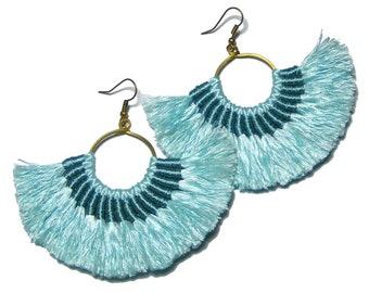 Solid Blue Fan Tassel Earrings, Fan Hoop Earrings, Solid Blue Fan Hoop Earrings, Pastel Blue