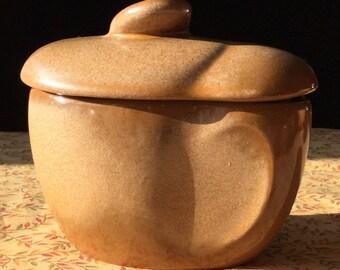 Vintage Covered Sugar Bowl Frankoma Lazy Bones Cinnamon Sugar Bowl Mid Century Modern Lidded Stoneware Sugar bowl