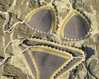 crochet bikini Gray - Crochet Swimwear Bikini  Crochet Boho bikini Hippie bikini Triangle bikini String bikini