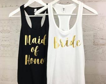 Bridal Party Tank Tops, Bridesmaid Tank Top, Maid of Honor Tank Top, Brides Squad, Bride Tank Top, Wedding Tanks, C
