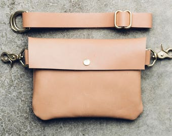 classic snap hip bag + satchel in beige // leather fanny pack // solid brass hardware // worn as hip bag, shoulder and cross-body