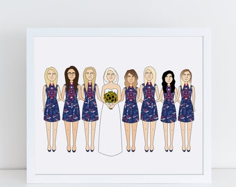 Custom Bridesmaid Portrait, Bridesmaid Illustration, Bridal Portrait, Will You Be My Bridesmaid, Bridesmaid Proposal, Bridesmaid Gift