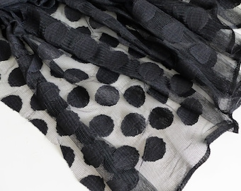 "Black large spot tulle fabric - 56"" wide - sold per metre"