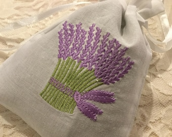 French Lavender sachet, Machine Embroidered Lavender sachet, Handmade Cotton Pouch Sachet, Handmade Lavender sachet, Import Sachet