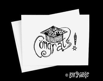 Graduation Card Congrats Notecard Blank Inside Single Card