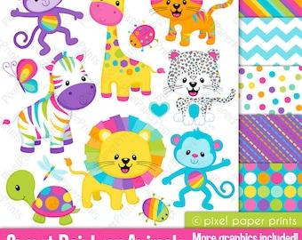 Jungle clipart - SWEET RAINBOW ANIMALS - Clip Art and Digital paper set