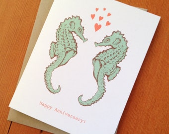 anniversary card | seahorses | greeting card | illustration | love | screenprint | ocean art | nature | seahorse art | love |