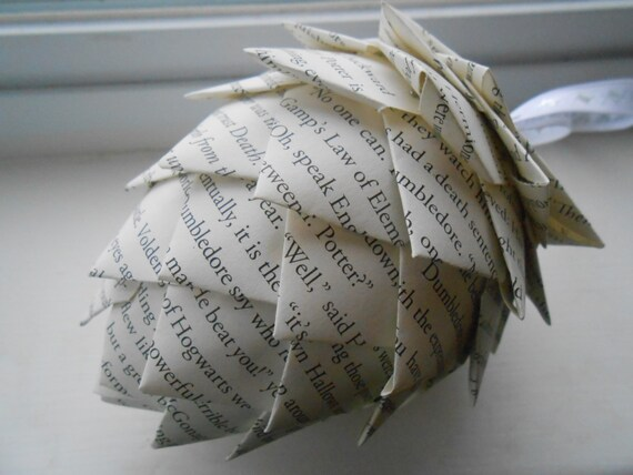 Book Paper Pinecone Ornament. Decoration, Christmas, Gift, Birthday, Anniversary, Wedding.