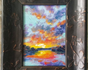 Daily Art by Ben #21 oil sunset study 5x7