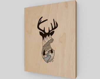 Deer Head Wood Panel PRINT 8x10
