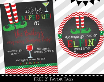 Elfed Up Invitation - Holiday Party Invitation - Christmas Party Invite - XMAS - FREE Favor Tags