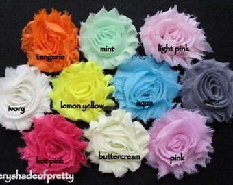 2.5 inch  Shabby  Chic  Chiffon  Flower Clips--you choose colors