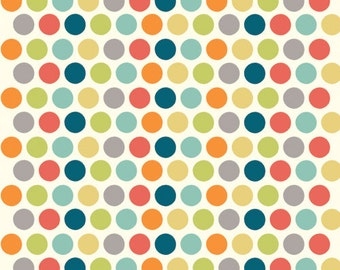 "End of Bolt - 43 x 44"" - Polka dot fabric - Birch Organic Cotton Fabric - Dottie Multi - Just for Fun Poplin - Multi Colored Dots"