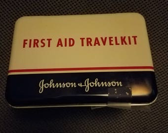 Vintage Johnson & Johnson Metal First Aid Box, Supplies, Red Cross Pin