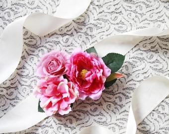 Woodland Bridal Sash Belt Wedding Sash Belt - Wedding Dress Sashes Belts - Magenta Violet Red Purple Flower Sash Belt - Rustic Boho Bridal