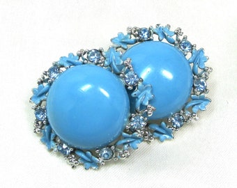 Vintage Blue and Silver Clip On Earrings, Sky blue enamel with Blue Rhinestones