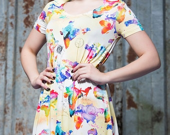 Swing Dress in World Map Digital Print Jersey by Get Crooked