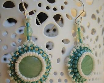 Deep Seafoam Green and Cream Bead Embroidered Earrings