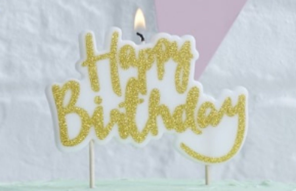 Pink Glitter Happy Birthday Candle/Birthday Party Cake Table ...