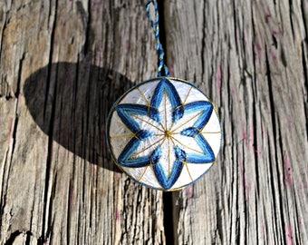 Blue Star Temari, Traditional Japanese Folk Craft Temari Ball, Hanukkah Star Temari Ball, Christmas Bauble, Embroidered Ball Ornament,