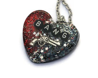 BANG Necklace Comic Nerd Jewelry Sarcastic Feminist Riot Grrrl Pistol Gun Red Holographic Heart Fun Necklace