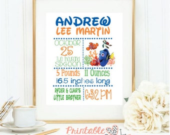 PERSONALIZED Baby Announcement; Customize-Your-Colors; Nursery Decor; Disney's Finding Nemo; Dory; Baby Shower Decor; 8X10 Digital Print