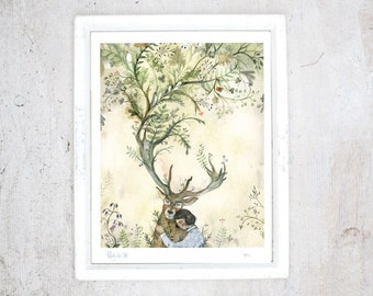White-tailed deer Print | Illustration Art Giclee watercolour | Poster Nature Friendship Nature lover | limited edition | Vegan Vegetarian