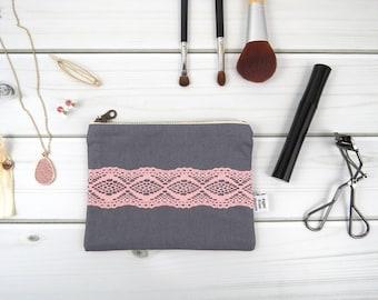 Linen Lace zipper pouch small size - STELLA in Graphite - vintage cotton lace, linen cosmetic bag, passport case clutch