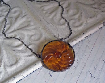 Statement Medallion Glass Necklace Amber Bib Pendant