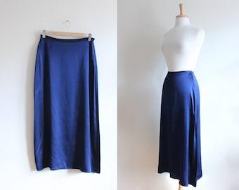 Vintage 1990s The Limited Navy Blue Silk Midi Skirt
