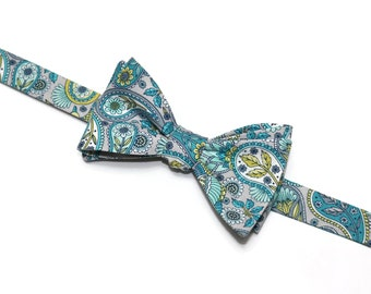 Teal and Gray Floral Paisley Bow Tie~Mens Self Tie Bow Tie~Mens PreTied~Anniversary Gift~Yellow~Floral Tie~Cotton Bow Tie~Wedding Bow Tie