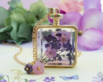 Violet Necklace - Dried Flower Necklace Violet - Dry Flower Jewelry - Purple Flower Necklace - Flowers in Bottle Necklace Floral Gift N6401