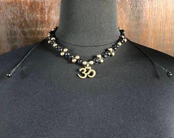 Aum & Metal Bohemian Macrame Necklace