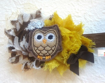 Baby Headband / Brown Mustard Owl headband /  Brown Owl Girls headband / Baby Headbands / Baby Photo Props, infant headband