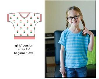 Seena Dolman Tee PDF Sewing Pattern 2T-8