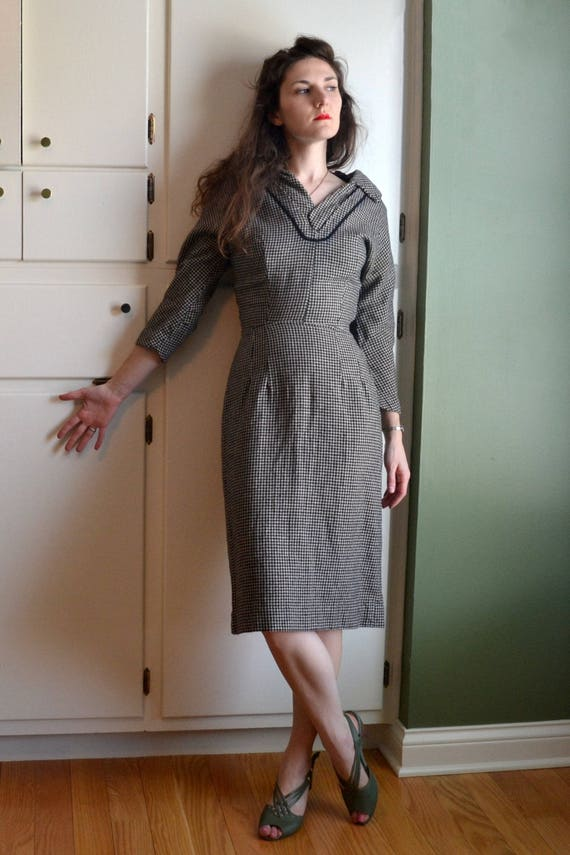Classic Conclusion Dress / vintage 50's black tweed wool wiggle dress